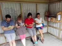 Nyitott könyvespolc a Vacsiközben - egy mini-könyvtár, hogy a lakók mosolyogjo